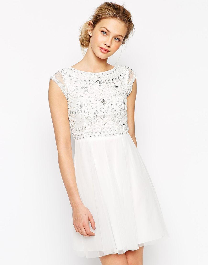 Frock and Frill Embellished Top Skater Dress