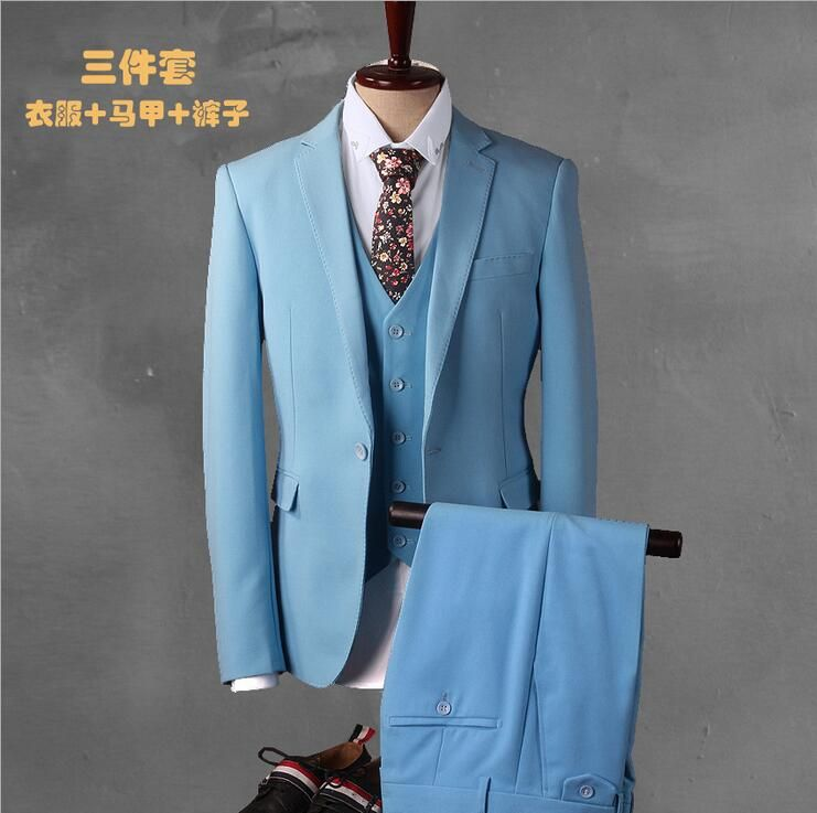 Click to Buy << Latest Coat Pant Designs Light Blue Prom Men Suit ...