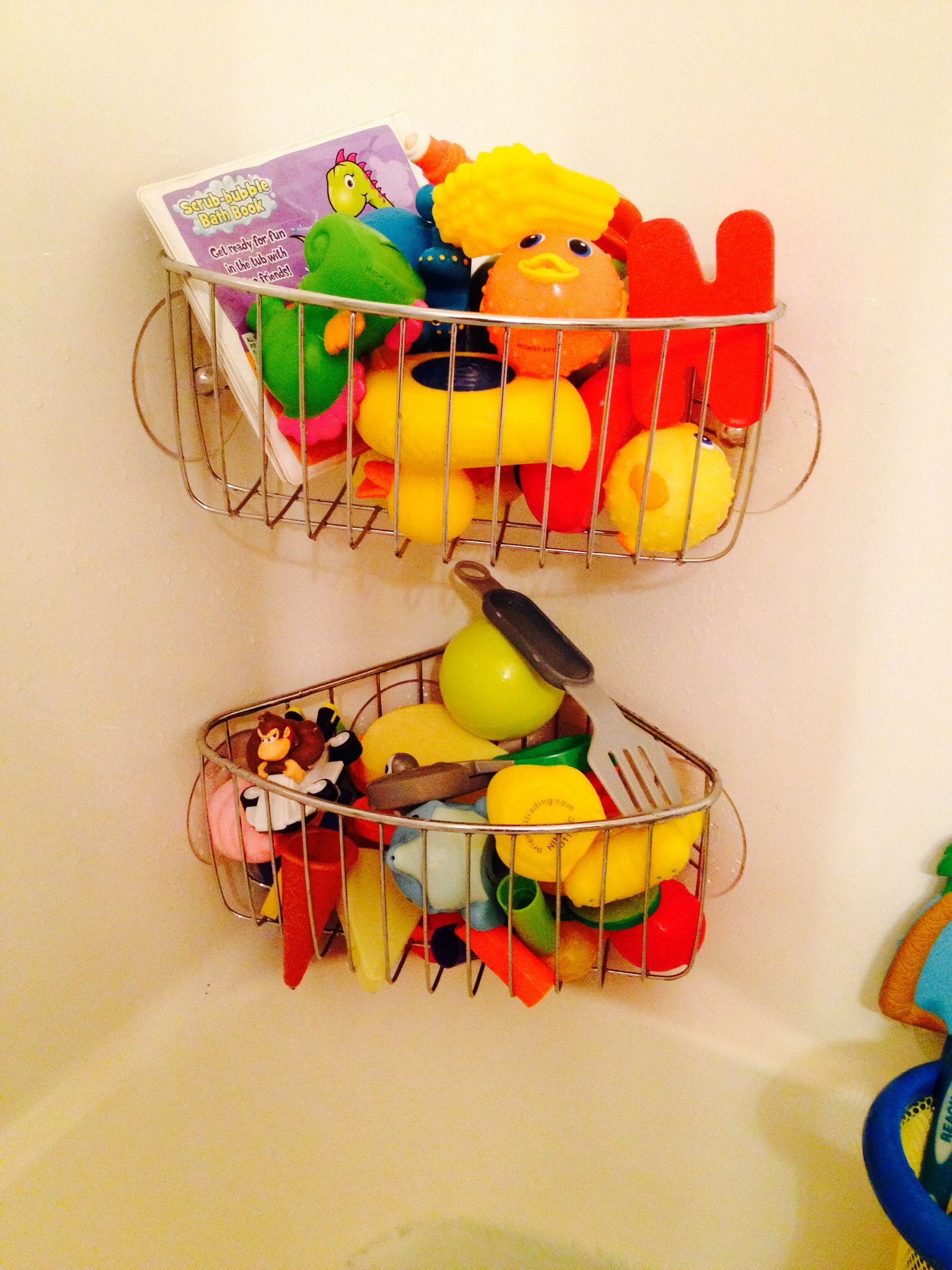 Super easy idea for kids bath toys Individual Shower racks at