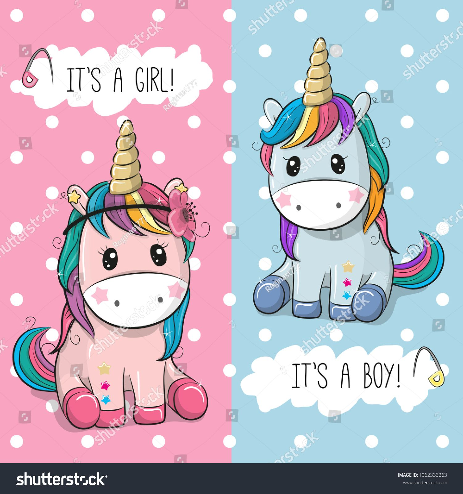 Baby Shower Greeting Card With Cute Unicorns Boy And Girl Baby