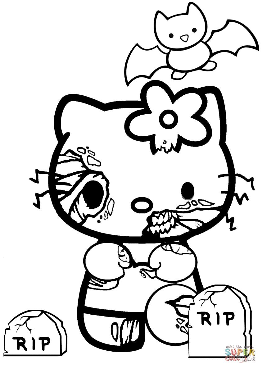 Easy Halloween Coloring Pages Inspirational Zombie Coloring Pages Coloring Pages Kitty Coloring Hello Kitty Colouring Pages Hello Kitty Coloring