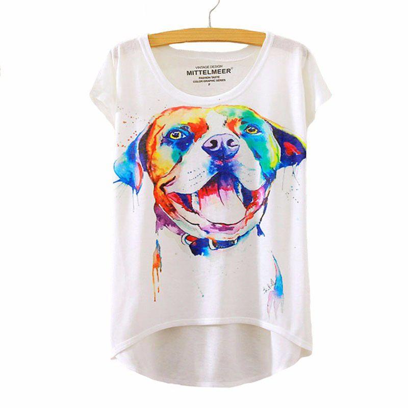Watercolor Printed T Shirt Ladies Casual Tops Casual Tops For