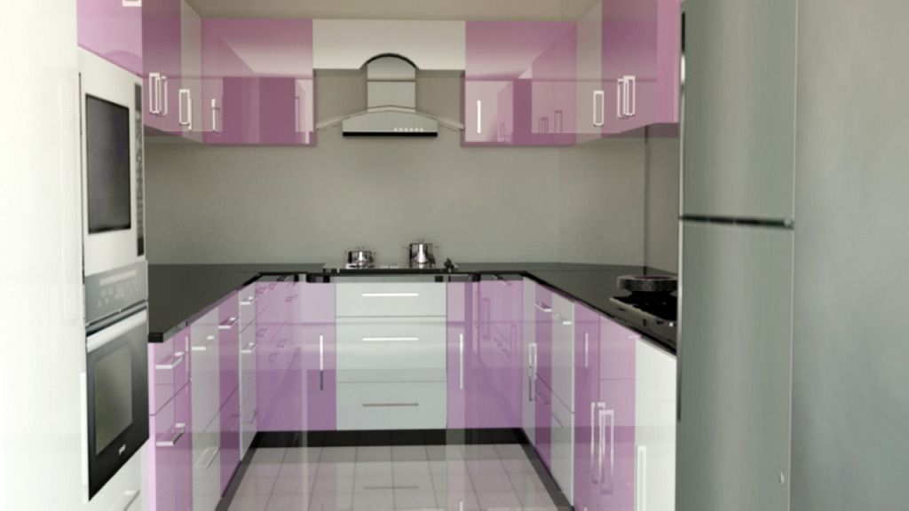 Black And White Kitchen Decorated With Purple For Modular Kitchen .