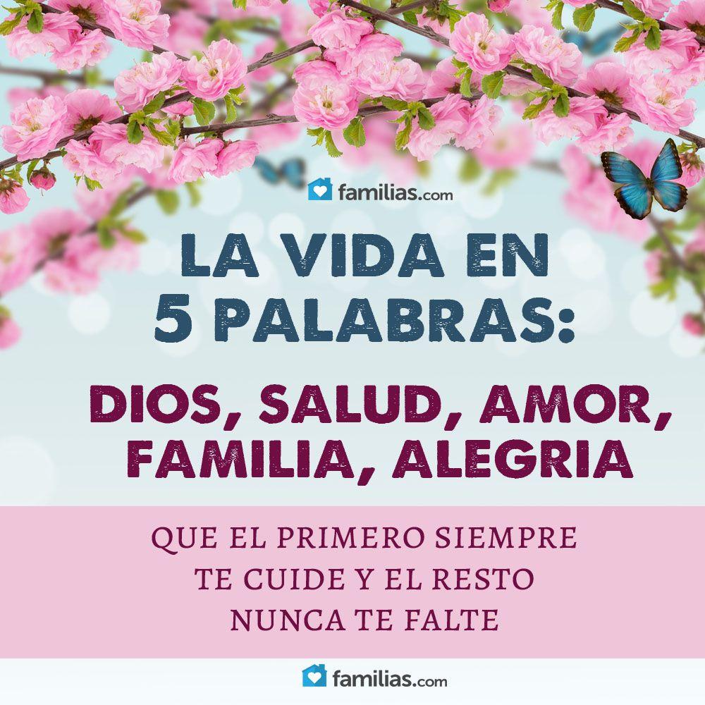 La Vida En 5 Palabras Dios Salud Amor Familia Y Alegria Yo Amo