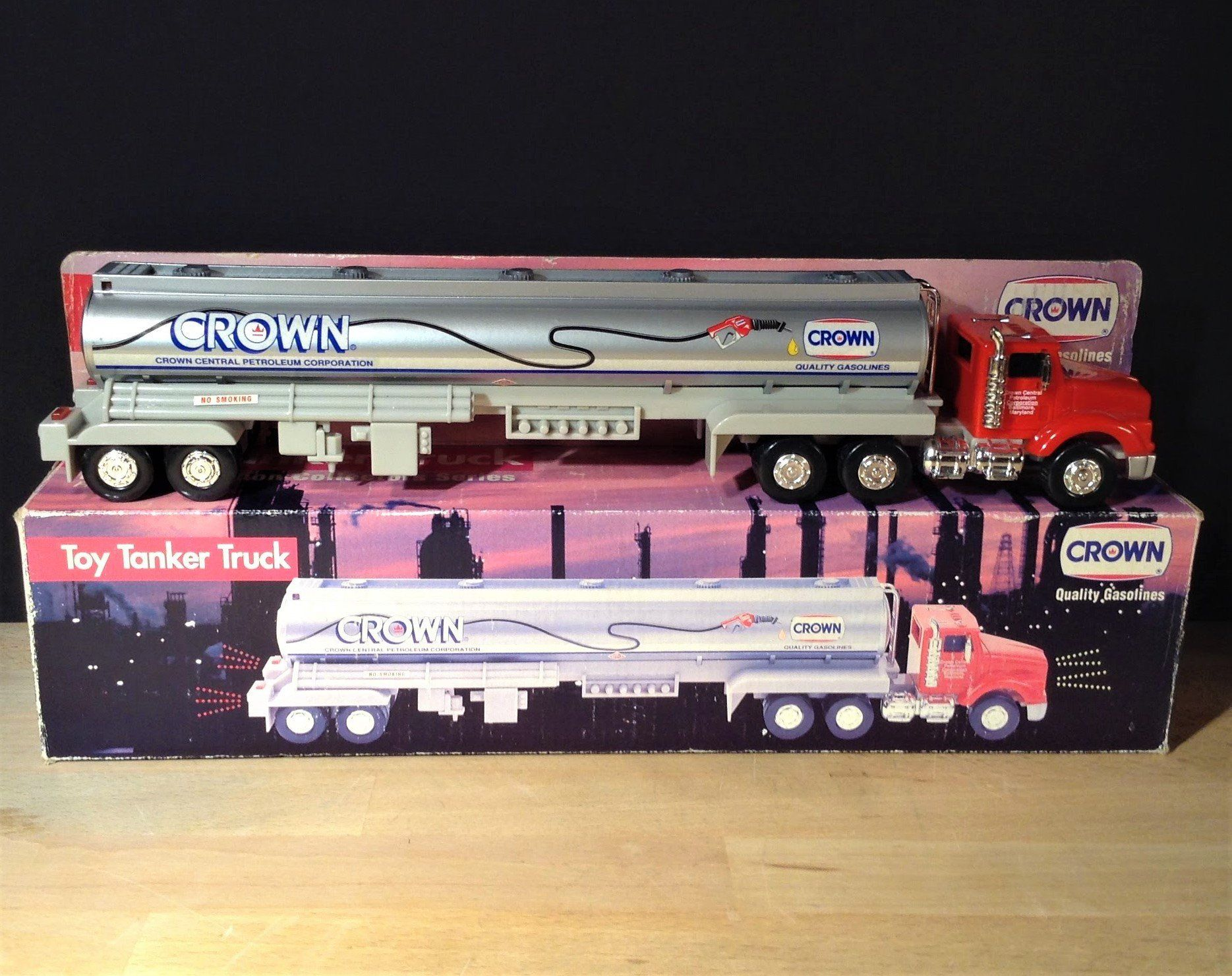 Crown Gasoline Tanker Truck Toy w/ Working Lights & Sound