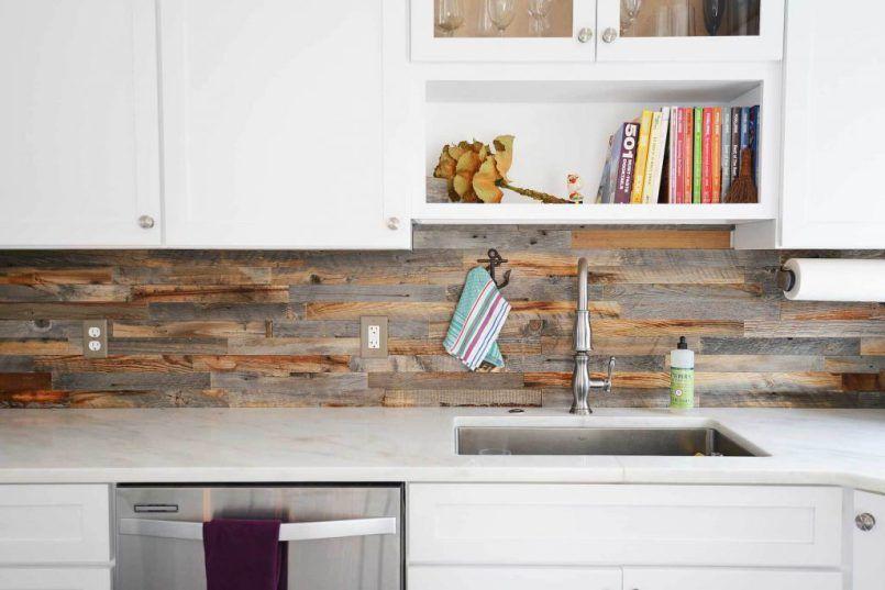 Reclaimed Wood Backsplash To Create Peaceful Rustic Vibe Wood Backsplash Kitchen Backsplash Wood Wall Tiles