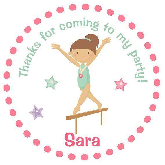 Gymnastics Birthday Party Sticker Personalized Favor Tag Custom Pe
