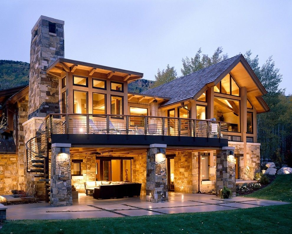 walkout basement house plans for a rustic exterior with a stacked stone house and aspen projects