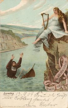 Postcard Showing The German Legend Of The Lorelei A Beautiful Siren Who Lured Hapless Men To Their Deaths Through Her Songs Music Art Lorelei Art Projects