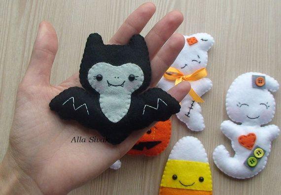 Halloween home decor, Halloween Magnets, Scary felt ornament, Fridge