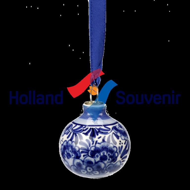 DELFTS BLAUW KERSTBAL 4 CM. BLOEM | Holland-Souvenir