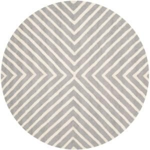 Safavieh Cambridge Silver Ivory 4 Ft X 4 Ft Round Area Rug Cam129d 4r The Home Depot Silver Rug Wool Area Rugs Area Rugs
