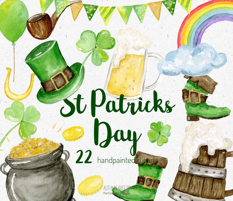 St Patrick S Day Clipart Watercolor Saint Patrick S Etsy In 2021 St Patricks Day Clipart Shamrock Clipart St Patrick