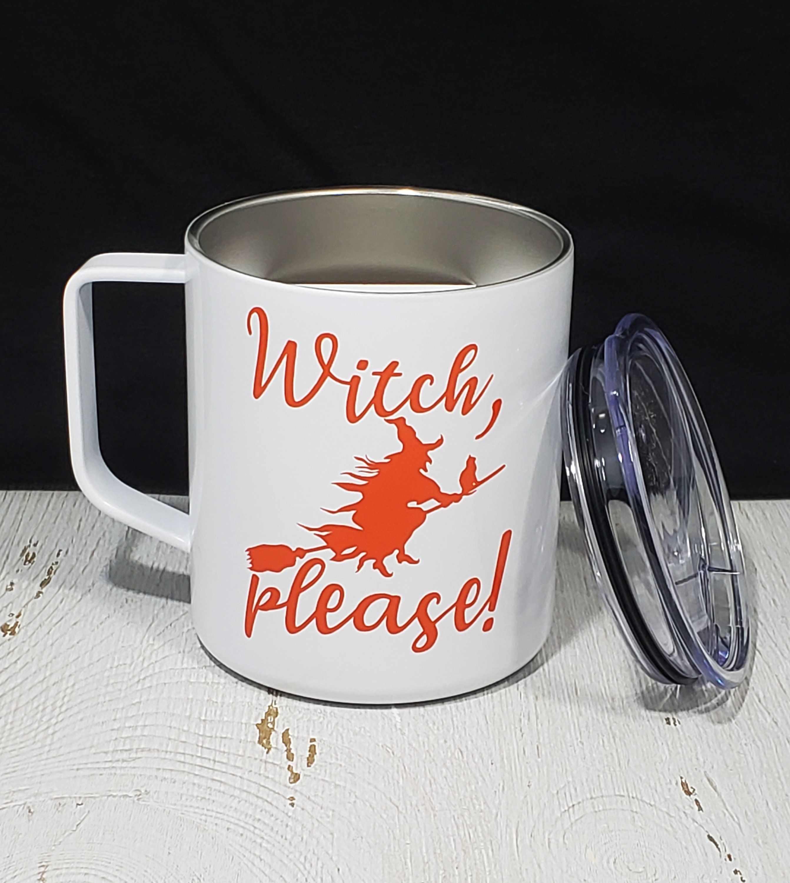 White Handled Insulated 14 oz Stainless Steel Witch Please