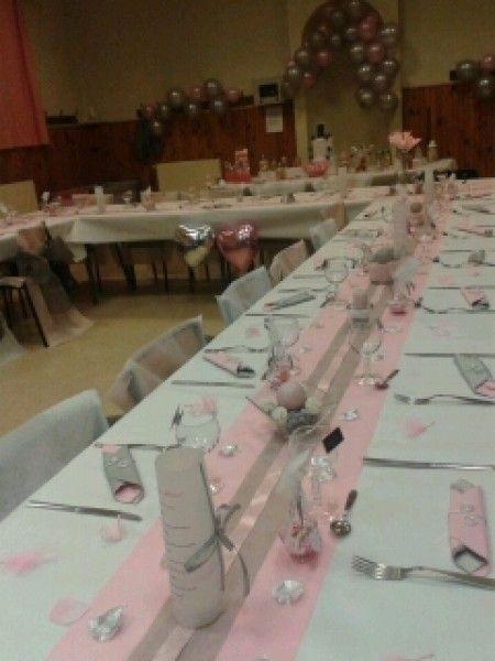 Gris Blanc Rose 1 Decoration De Table Bapteme Deco Salle Des Fetes Deco Table Bapteme Fille