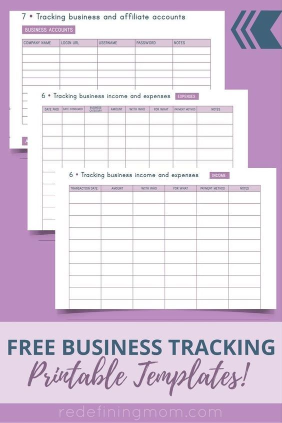 Free Business Tracking Printable Templates  Business Organization