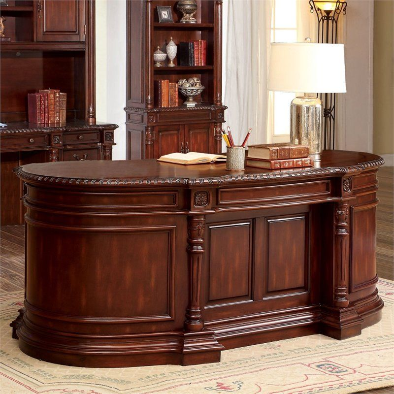 All Wood Office Desk: Furniture Of America Sigrid Executive Desk In Cherry
