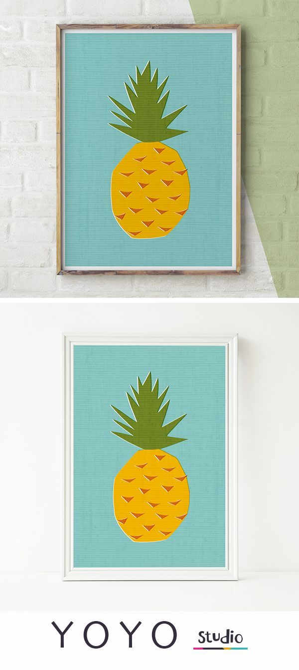 Pineapple Wall Art, Printable Pineapple, Tropical Print, Wall Art ...