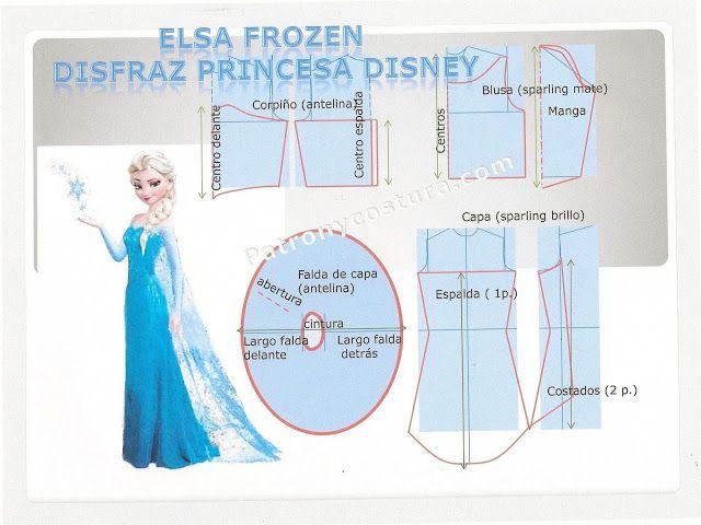Patrón y costura : DIY Elsa Frozen Princesa Disney disfraz.Tema 115 ...