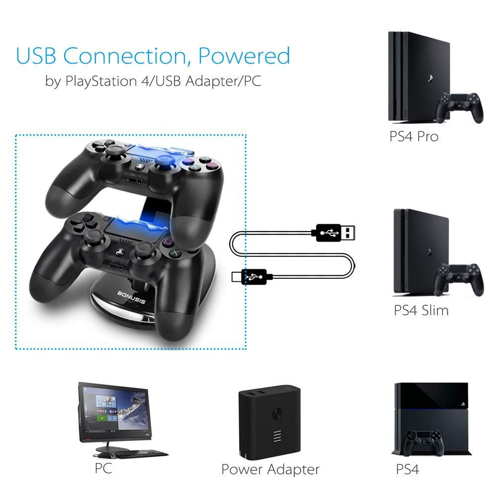 BONUSIS PS4 Controller Fast Charge Station -Dual USB