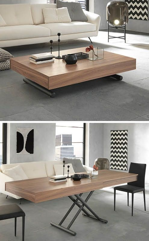 this modern coffee table transforms and expands into a
