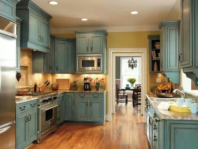 I've always wanted turquoise cabinets! | Distressed ...
