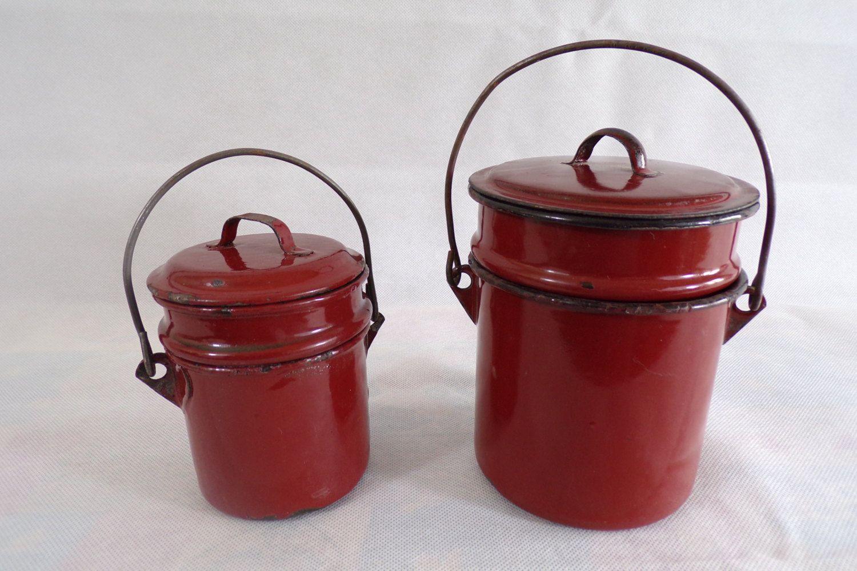 Gamelles porte repas vintage en tole emaillée cuisine vintage