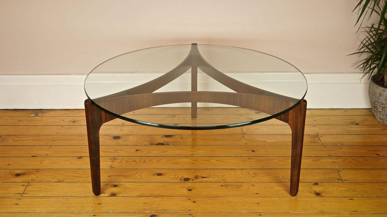 Danish Vintage Rosewood Glass Sven Ellekaer Round Coffee Table 1960 [ 720 x 1280 Pixel ]