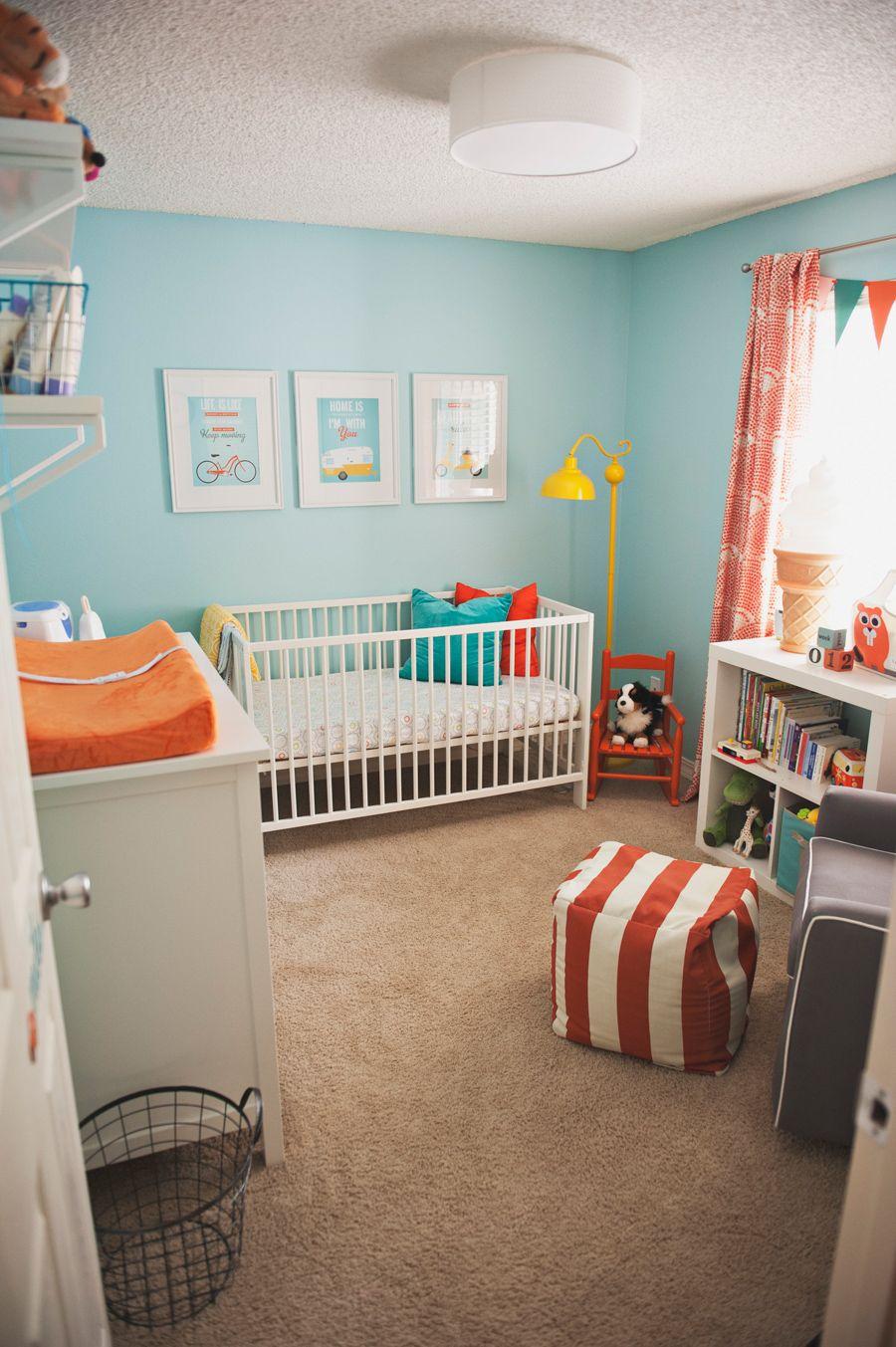Baby Miles Room Teal Nursery Gray Gender Neutral Nursery