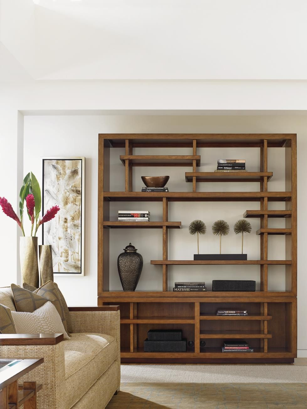 Create a room of balance and zen tranquility with this pan - Open shelving living room ...