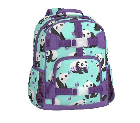 New Pottery Barn Kids Aqua Panda Small Backpack Lunchbox  2 Piece Set