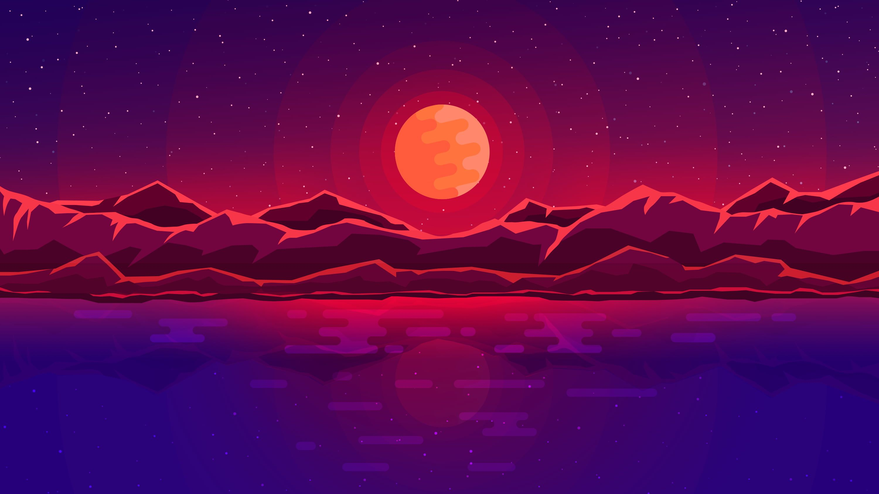 Red Moon With Mountain Wallpaper Body Of Water During Night Illustration Digital Art Space In 2020 Minimalist Desktop Wallpaper Digital Wallpaper Abstract Wallpaper