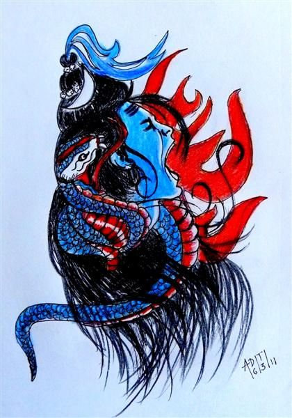 Angry Lord Shiva Sketch Art