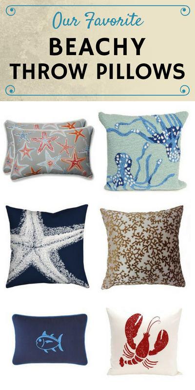 Beach Themed Throw Pillows Discover That Feature Crabs Seashells Surfboards Turtles Starfish Lobster Pineles And House