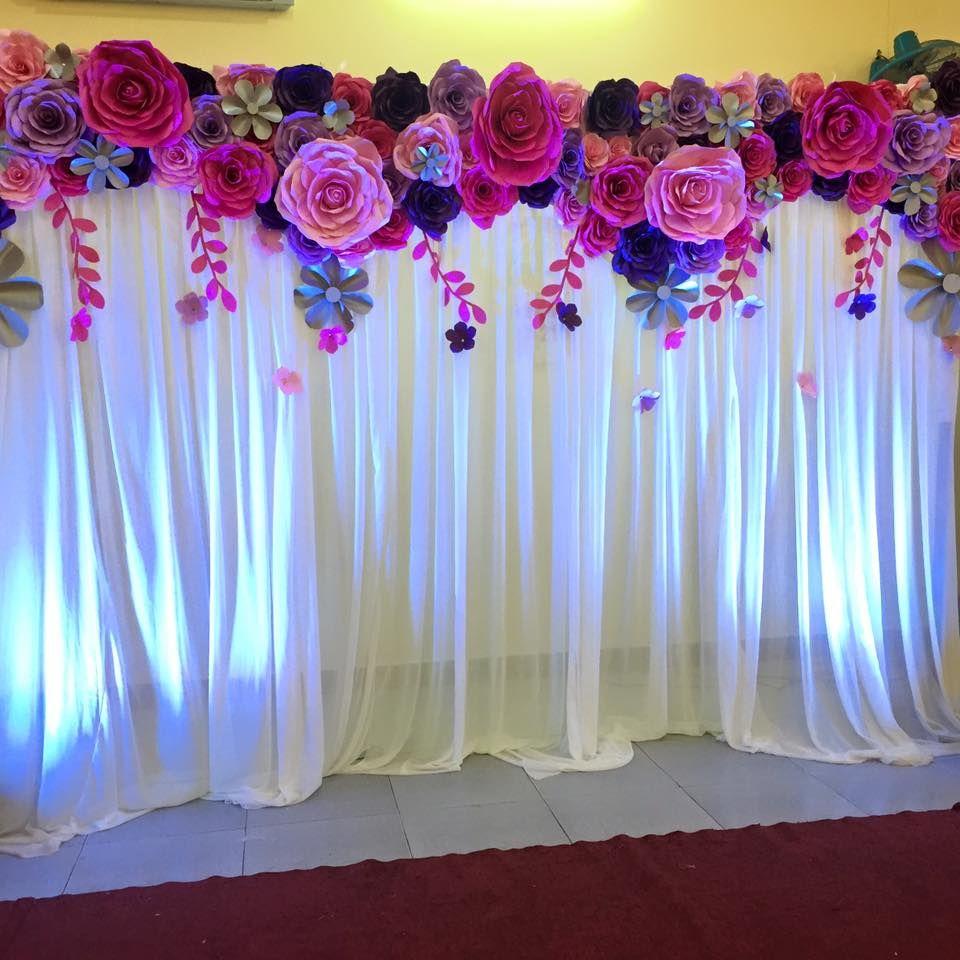 отсняли картинки украшения зала бумажными цветами доброкачественном
