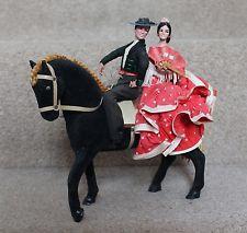 """Muñeca De Flamenco Marin 8""""x9"""" pareja caballo Rara Vintage español 50s/60s"""