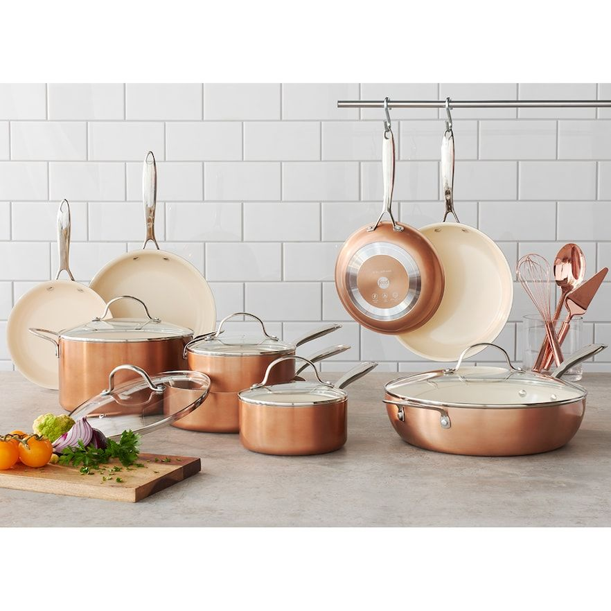 Food network 10pc nonstick ceramic copper cookware set