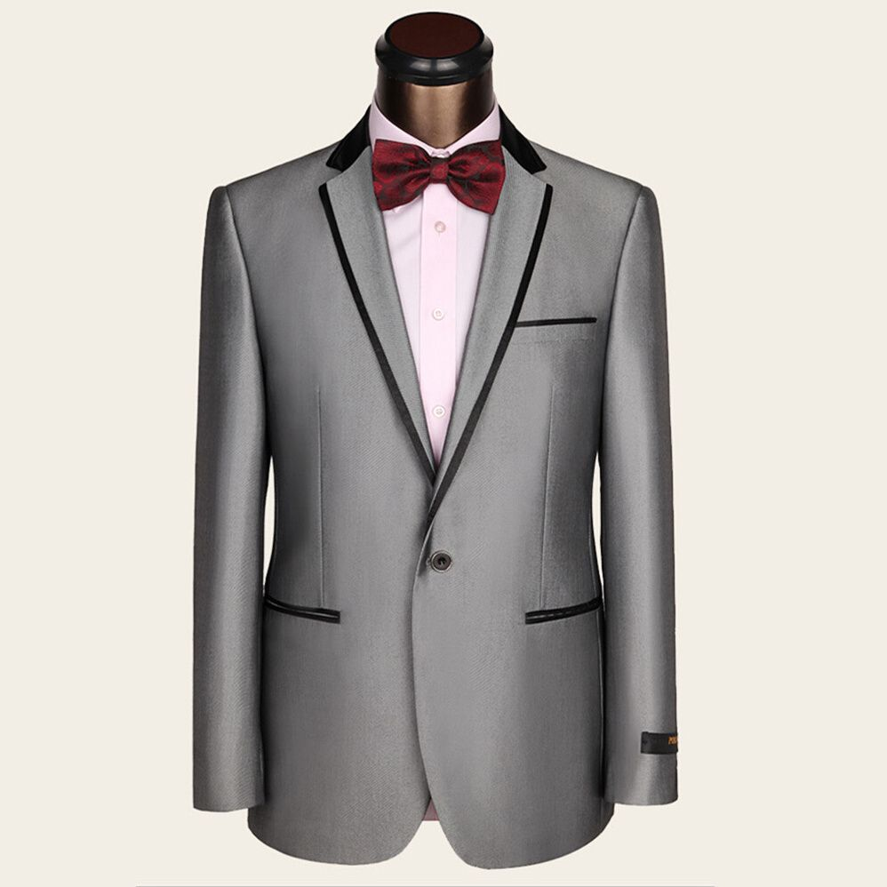 Click to buy ucuc latest coat pant designs grey men suit slim fit