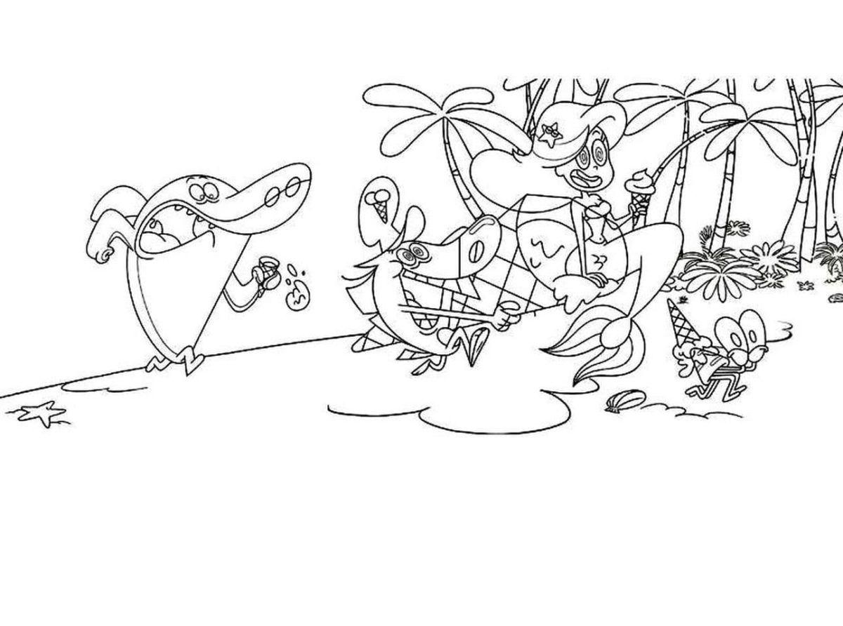 Zig And Sharko Coloring Pages Hyena Shark Mermaid Marina Free Em 2020 Colorir