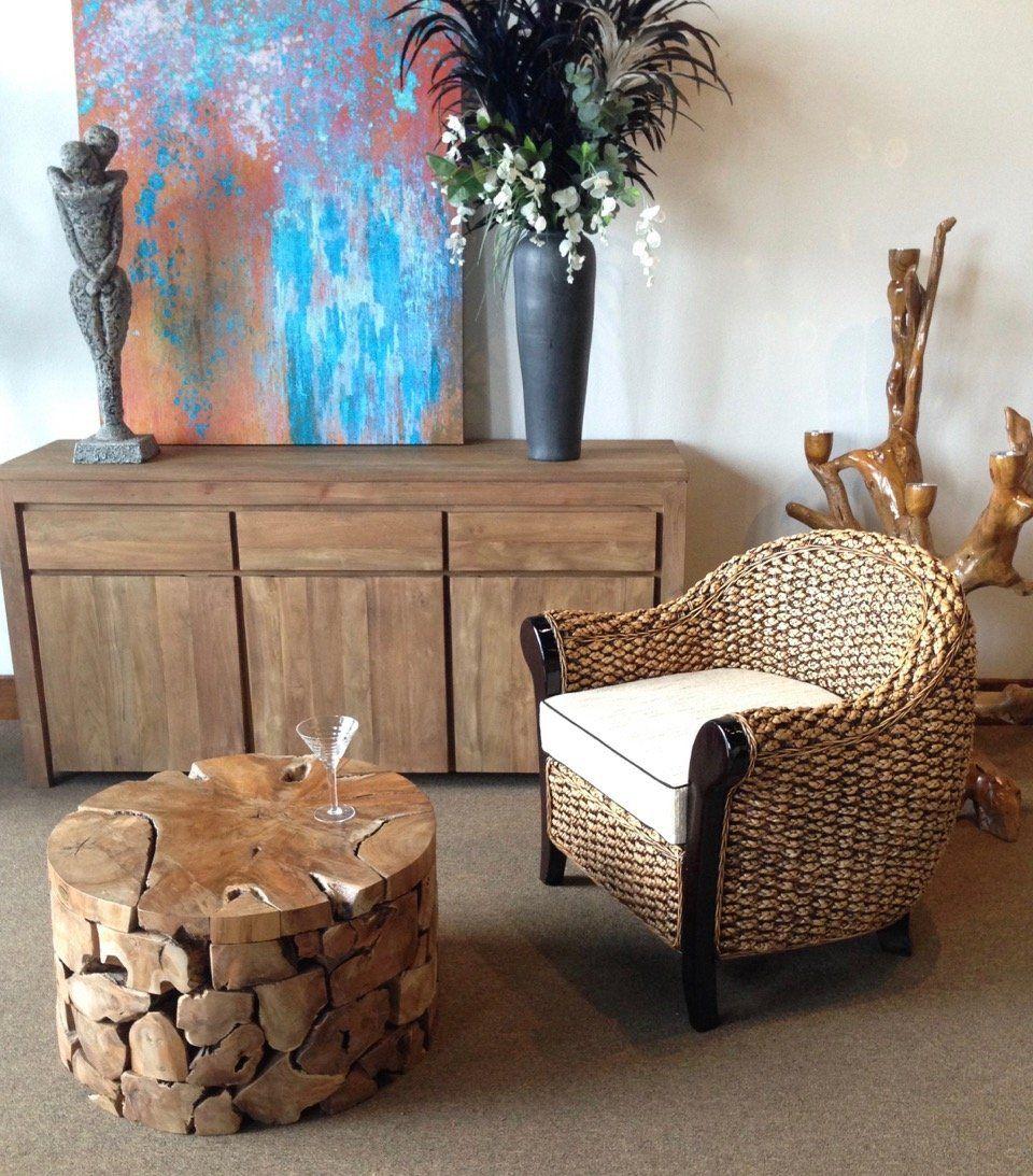 Teak Wood Round Akara Coffee Table - 28 Inch | Teak coffee ...