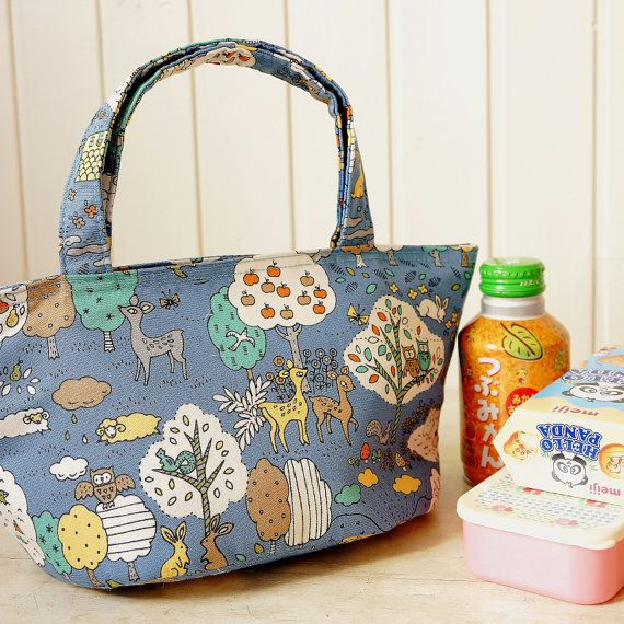 Japanese Insulated Lunchbag Sandwich Snack Bag Tote by cottonblue