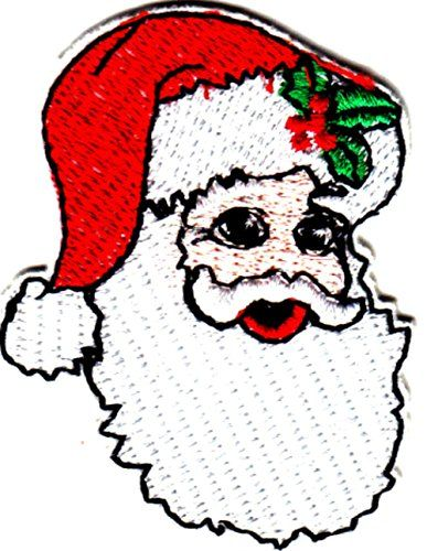 "[Single Count] Custom and Unique (2 1/2"" x 2"" Inches) Seasonal Holiday Festive Xmas Christmas Santa Clause With Holly Cap Iron On Embroidered Applique Patch {Green, Red & WhiteColors mySimple Products"