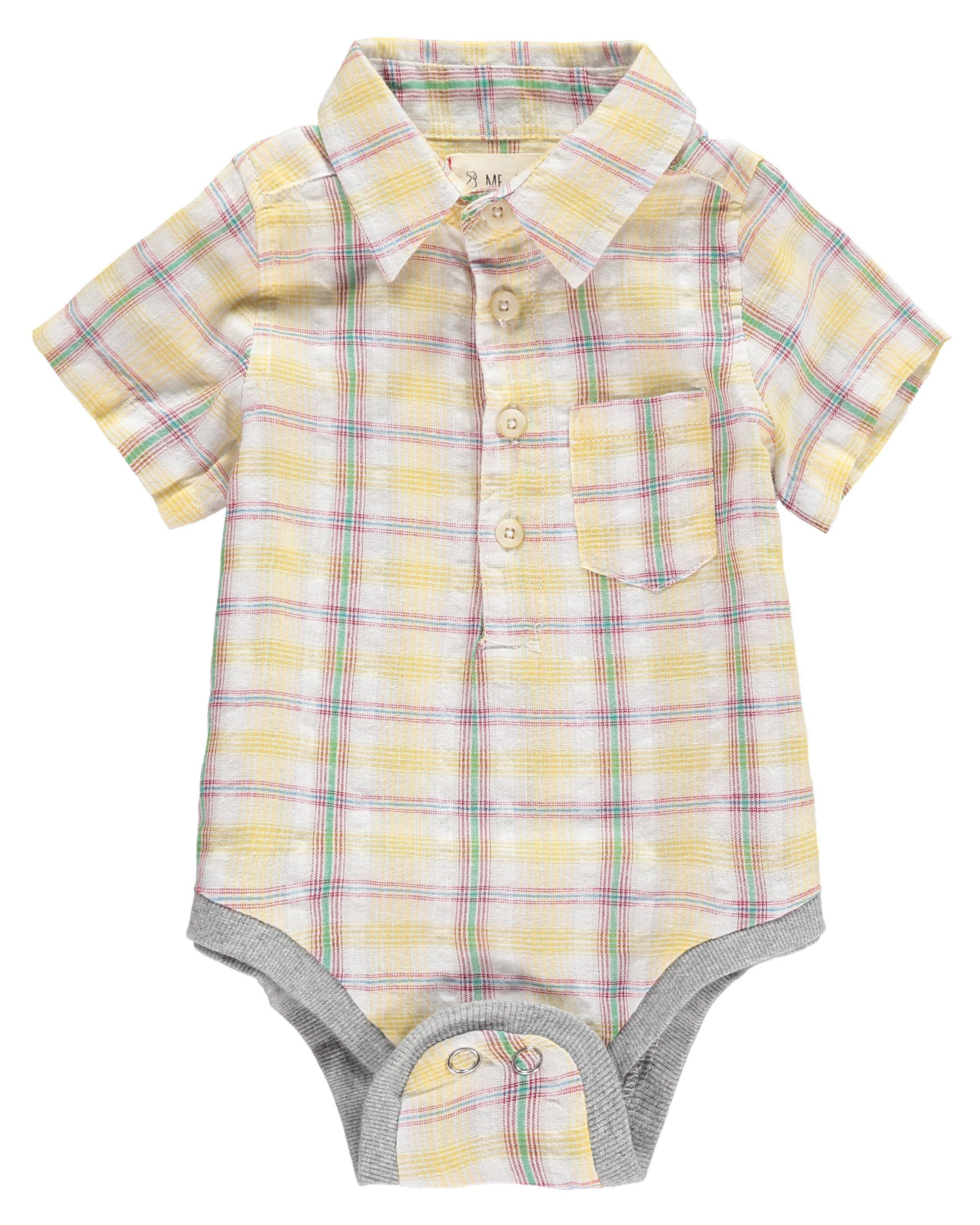 Me+Henry Short Sleeve Button Up Onesie | Designer baby ...