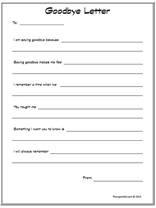 Goodbye Letter Preview Notebook  Counseling