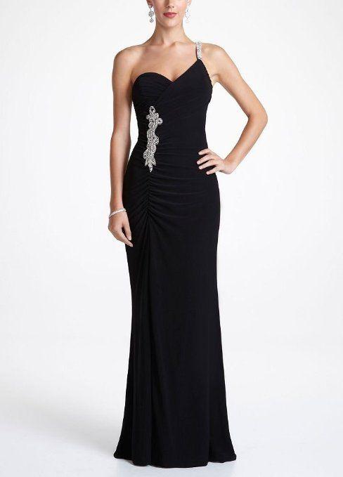 Amazon Davids Bridal Rhinestone One Shoulder Jersey Prom Dress