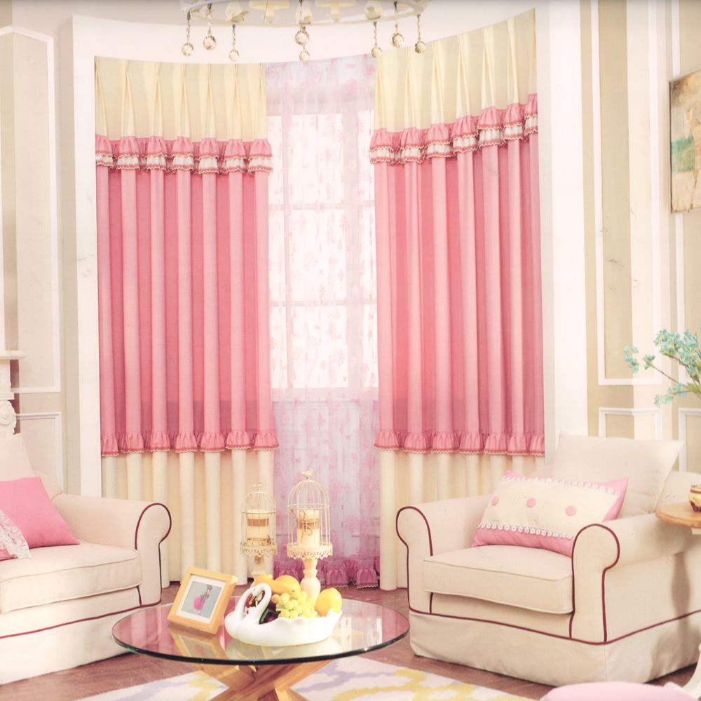 Deramy Pink Kids Blackout Curtain Lace Element