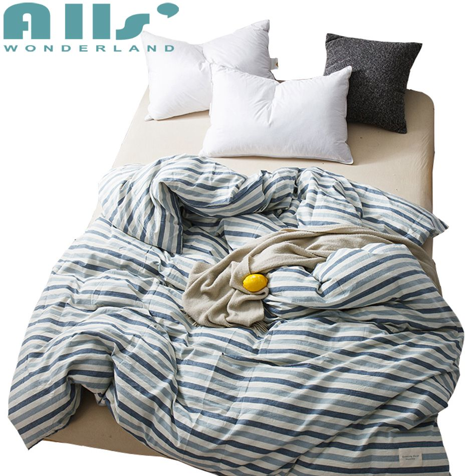 Blue Striped Quilt Cover 100 Washed Cotton Soft Duvet Cover Modern Decoration For Bedroom Nordic Funda Queen Soft Duvet Covers Duvet Covers Cheap Duvet Covers