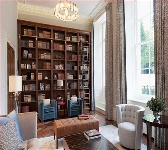 Floor To Ceiling Bookshelves With Ladder   Google Search