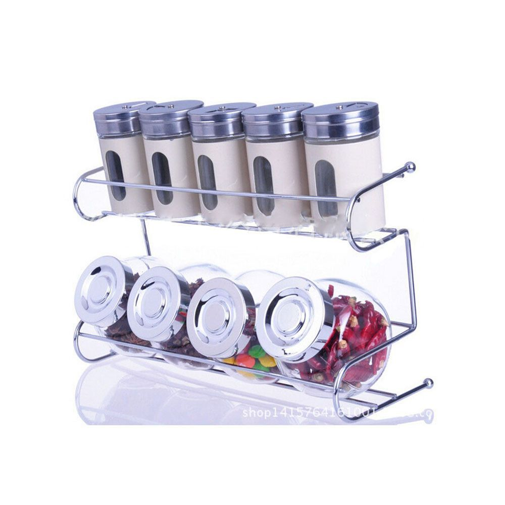 Features: Counter-top spice rack Each spice jar cap has 3 different sifters Specifications: Material: Stainless Steel & Glass Spice Jar (LxWxH): 5 x 5 x 8.5cm Candy Jar (LxWxH): 8.5 x 8.5 x 8.5cm Weig