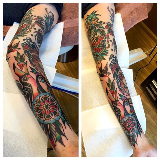 Sleeve tattoo - old school - Kim-Ahn | Tattoos for guys ...